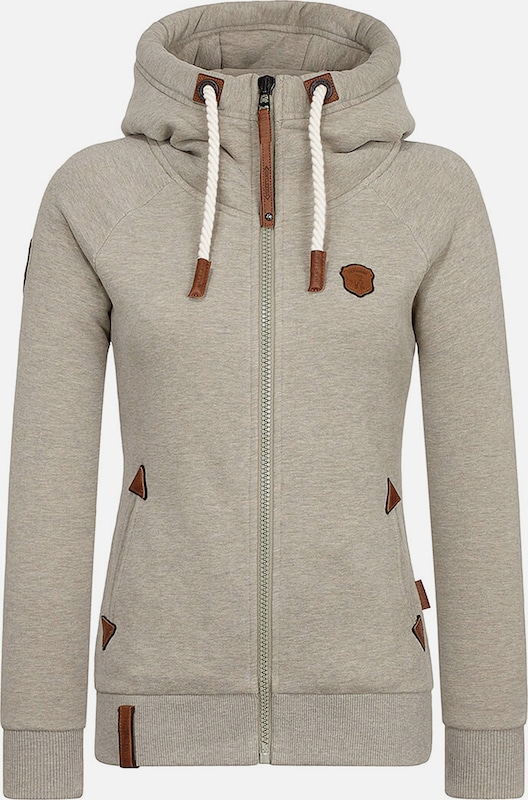 naketano Sweatjacke 'Blonder Engel' in taupe, Produktansicht
