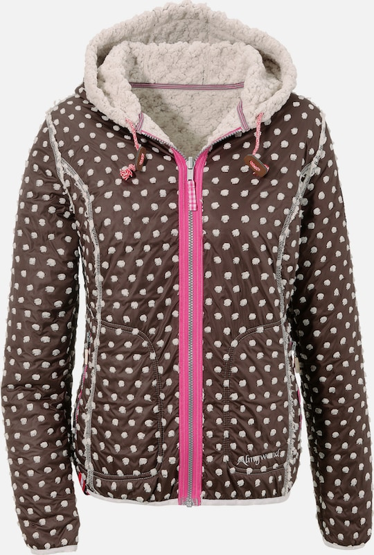 Almgwand Trachtenoutdoorjacke mit Kapuze in braun   Rosa   weiß  Neue Kleidung in dieser Saison