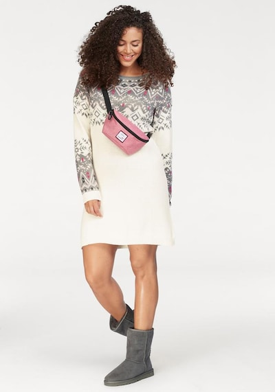 KangaROOS Strickkleid in grau / basaltgrau / pink / offwhite, Modelansicht