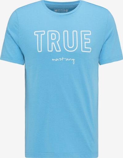 MUSTANG T-Shirt 'Wording Tee' in hellblau / weiß, Produktansicht