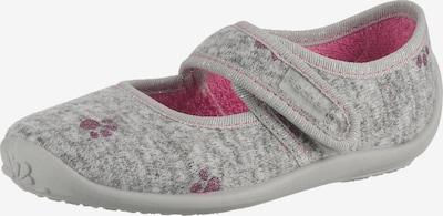Fischer-Markenschuh Hausschuhe in grau / pink, Produktansicht