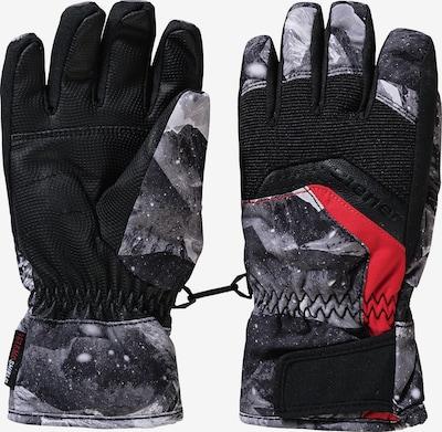 ZIENER Skihandschuhe 'Labino' in grau / hellrot / schwarz, Produktansicht