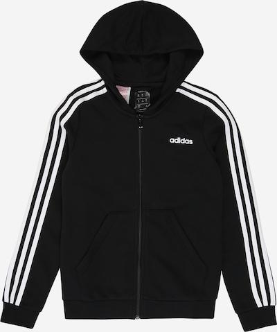 ADIDAS PERFORMANCE Sweatjacke 'YG E 3S FZ HD' in schwarz / weiß, Produktansicht