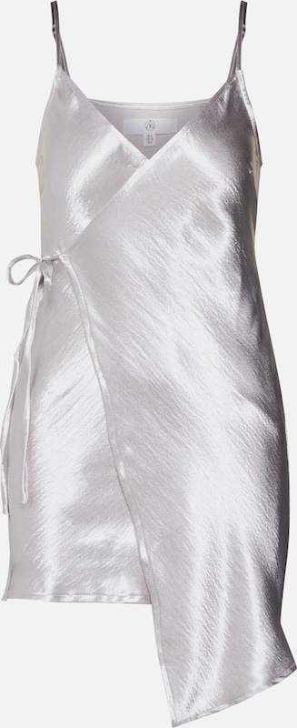 Robe En Hammered Wrap Argent Missguided Satin Mini' 'asymmetric QsCxhrtd