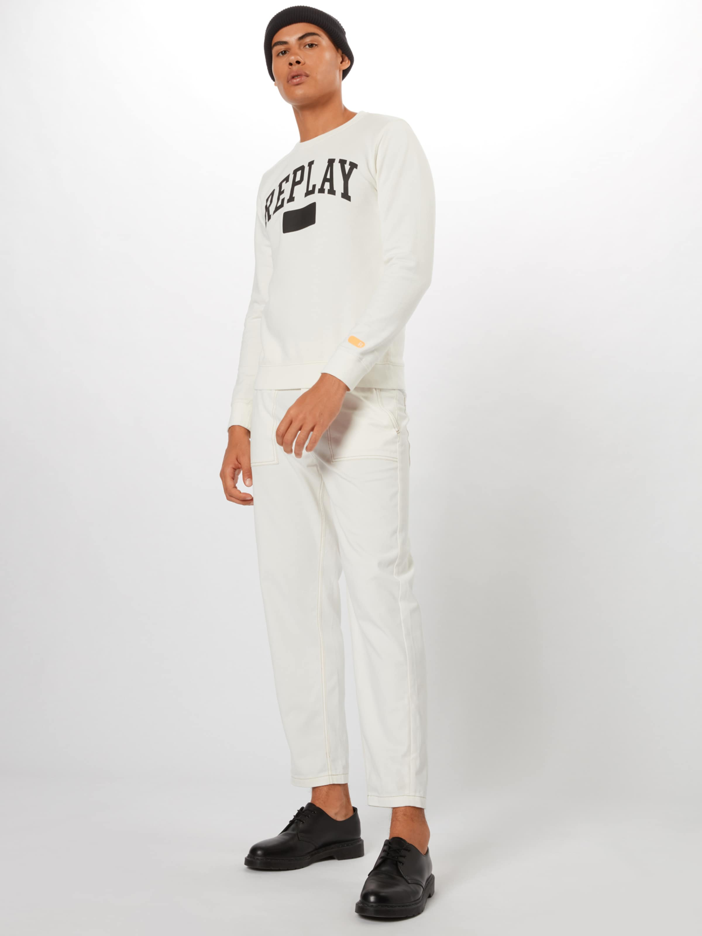 Replay shirt Sweat NoirBlanc Replay En shirt Sweat 5RAjqc4L3S