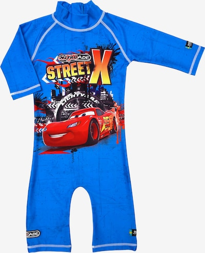 SWIMPY Badeanzug 'Cars' in royalblau / gelb / graphit / hellrot, Produktansicht