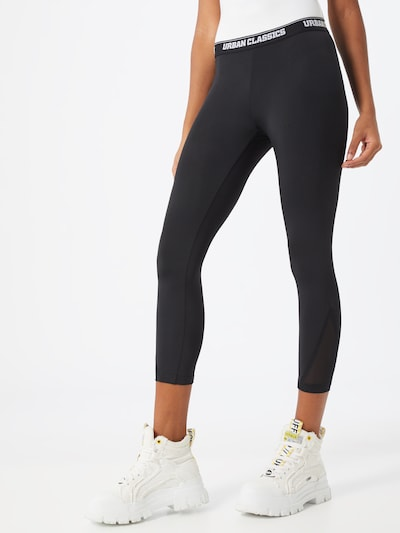 Leggings 'Ladies Tech Mesh Pedal Pusher Leggings' Urban Classics pe negru, Vizualizare model