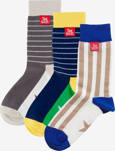 Tag SOCKS Socken in beige / blau / gelb / basaltgrau / weiß, Produktansicht