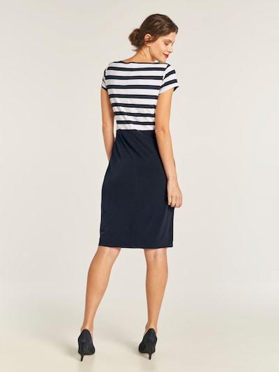 heine Jerseykleid in nachtblau / weiß: Rückansicht