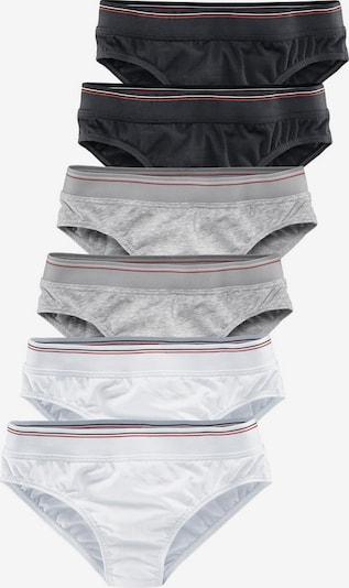 H.I.S Slips (6 Stck.) in graumeliert / schwarz / weiß, Produktansicht
