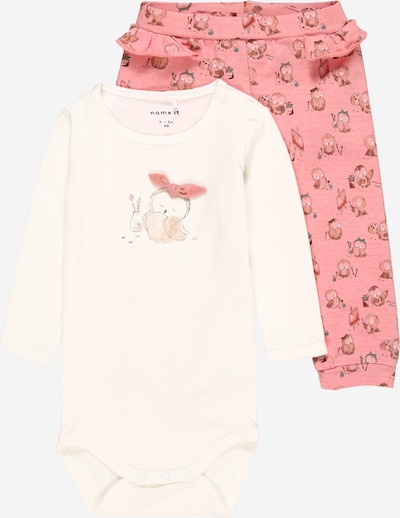 NAME IT Ganzteile 'NAJA' in mischfarben / pink / weiß, Produktansicht