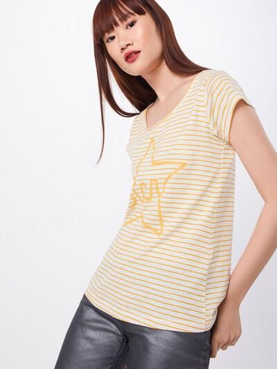Sublevel T-shirt en jaune / blanc cassé: Vue de face