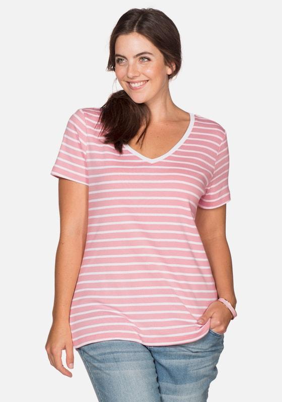 sheego casual Casual Basic T-Shirt V-Ausschnitt