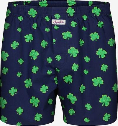 Sugar Pine Boxershorts ' Lucky Charm ' in de kleur Donkerblauw / Neongroen, Productweergave