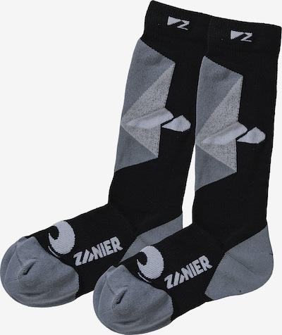 Zanier Skisocken in grau / schwarz / weiß, Produktansicht