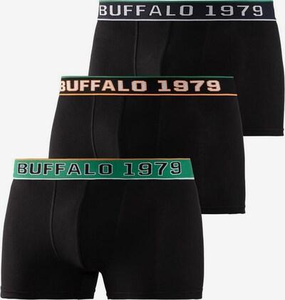 BUFFALO Boxershorts in grün / pastellorange / schwarz / weiß, Produktansicht