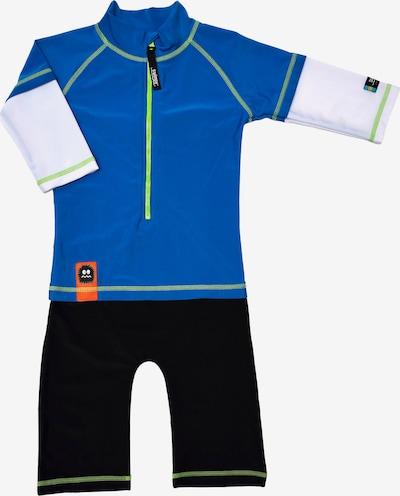 SWIMPY Schwimmanzug in blau / schwarz / weiß, Produktansicht