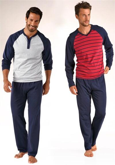 LE JOGGER Lange Pyjamas in navy / rot / weiß, Produktansicht