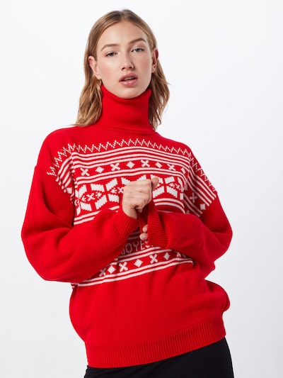 Missguided Pullover 'Christmas Fairisle' in rot / weiß, Modelansicht