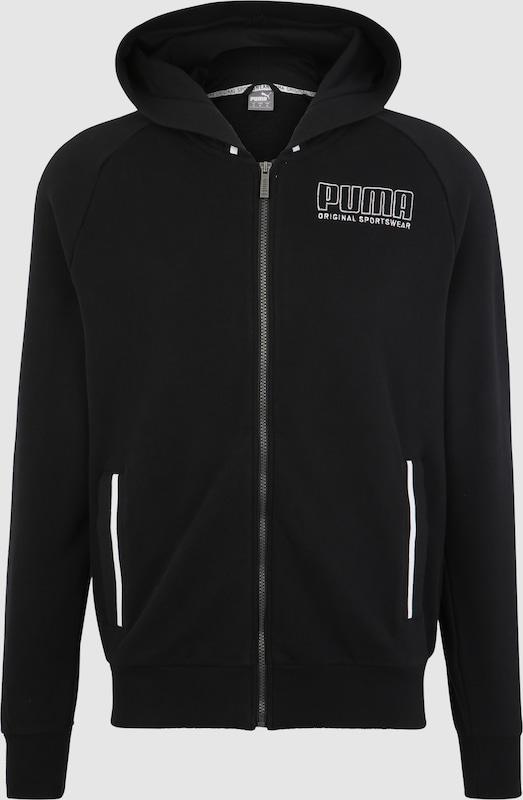 PUMA Sweatjacke 'Athletics Hooded Jacket TR' in schwarz   weiß  Neue Kleidung in dieser Saison