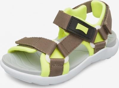 CAMPER Sandale 'Wous' in dunkelbeige / neongelb, Produktansicht