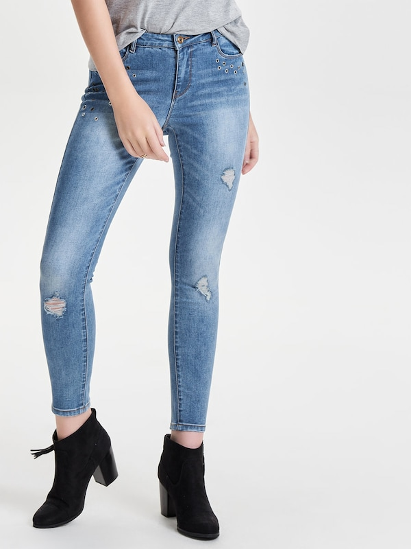 ONLY Knöchel-Ösen-Skinny Fit Jeans 'Carmen'