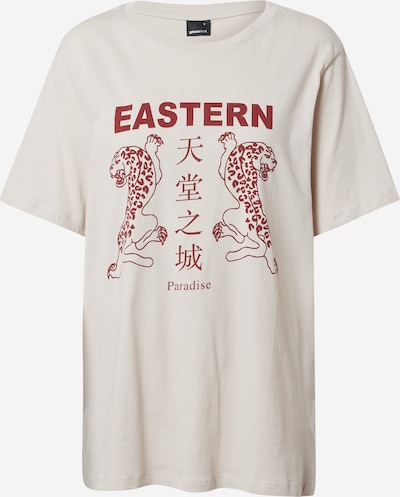 Gina Tricot Shirt 'Ellie' in ecru / dunkelrot, Produktansicht