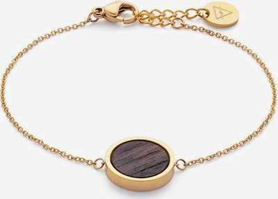 Kerbholz Armband 'Circle' in kastanienbraun / gold, Produktansicht