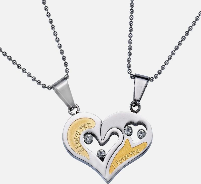 FIRETTI Partnerschmuck: Schmuckset  Halsketten m. Anhänger (Set, 4 tlg.) Gravur »I LOVE YOU«, »HERZ«