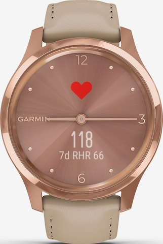 GARMIN Sports Watch 'vívomove Luxe' in Beige