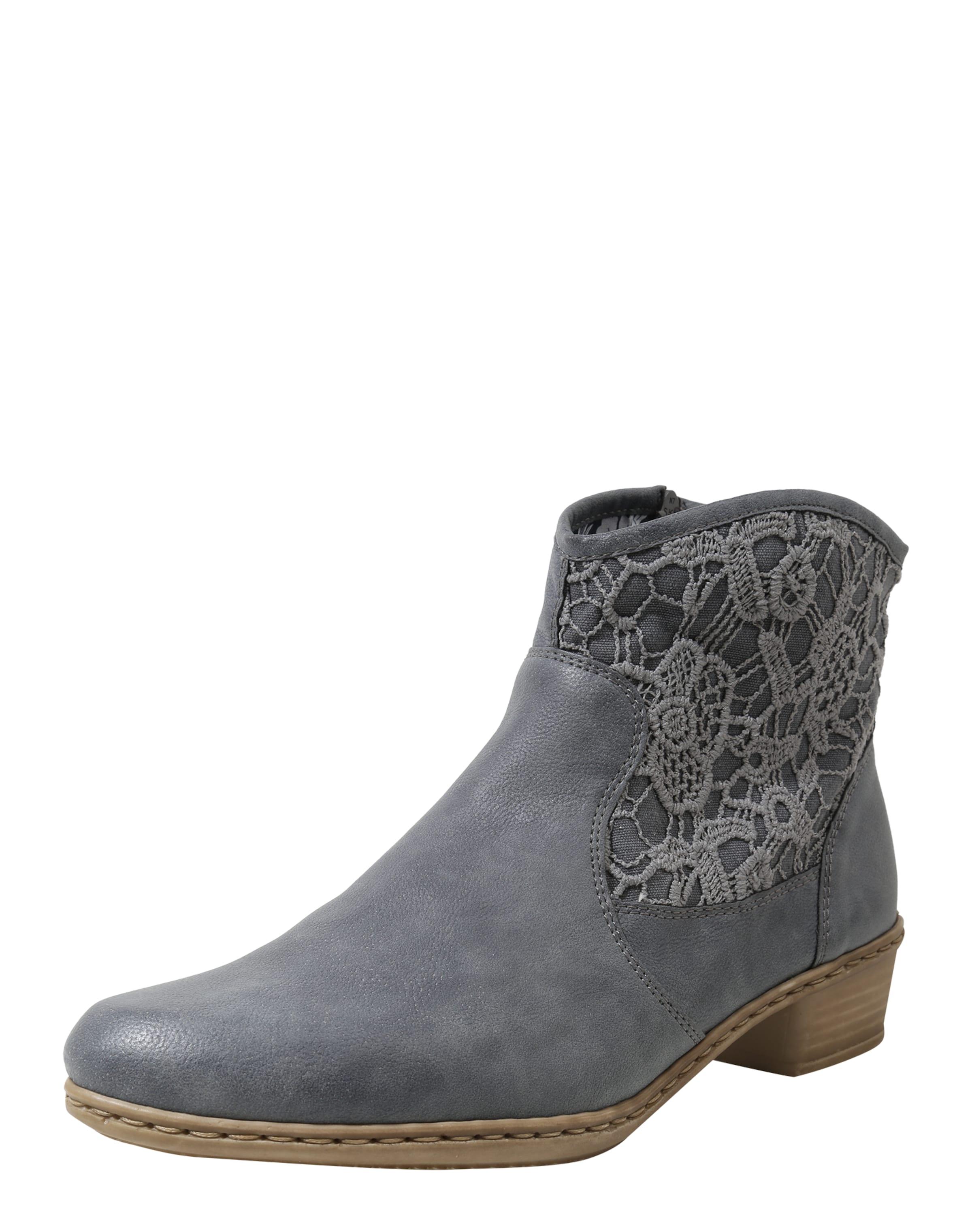 RIEKER Stiefelette mit Stickbesatz Verschleißfeste billige Schuhe