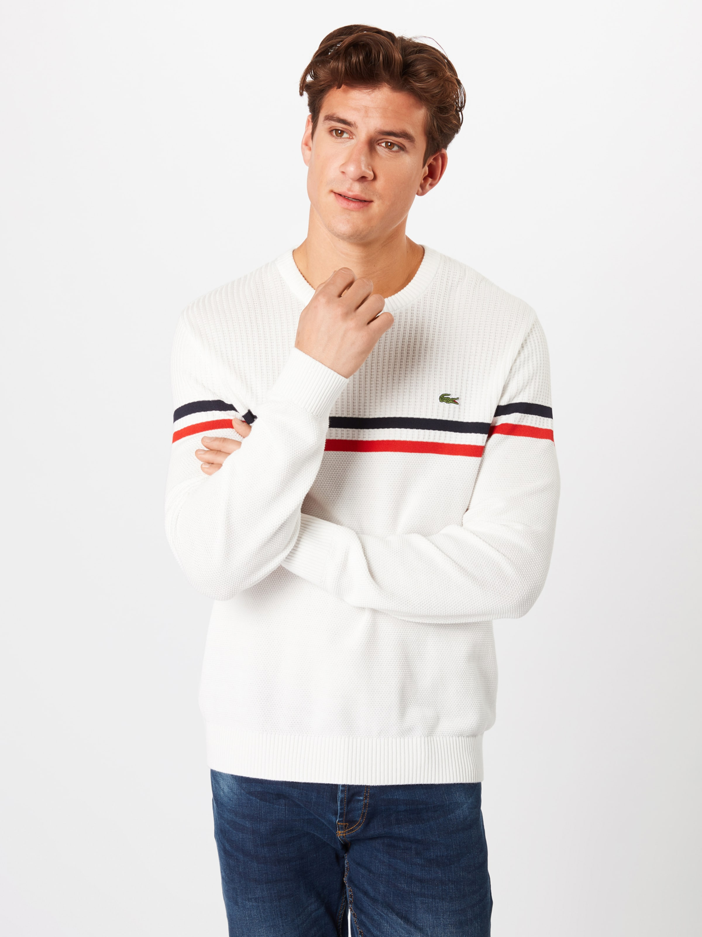 'tricot' Weiß BlauRot In Lacoste Pullover 7yYbf6gv