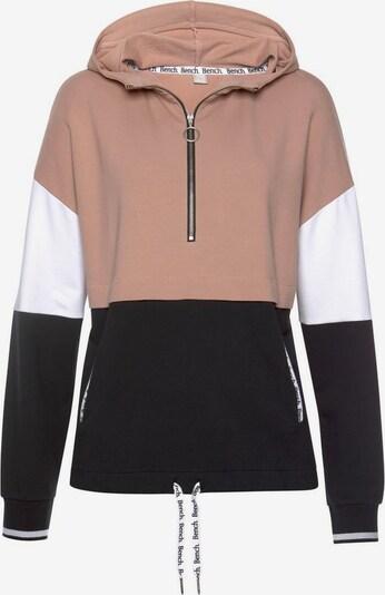BENCH Kapuzensweatshirt in puder / schwarz, Produktansicht
