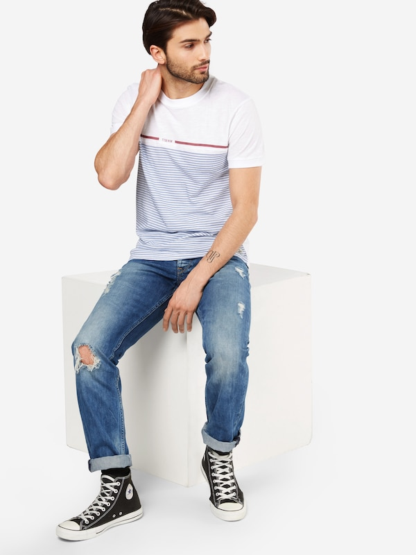 Tom Tailor Denim T-shirt Tee With Cutline And Stripe
