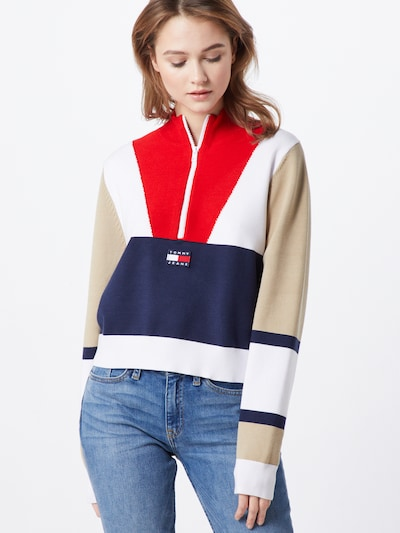 Tommy Jeans Pullover 'TJW COLORBLOCK LOGO SWEATER' in navy / rot / weiß, Modelansicht
