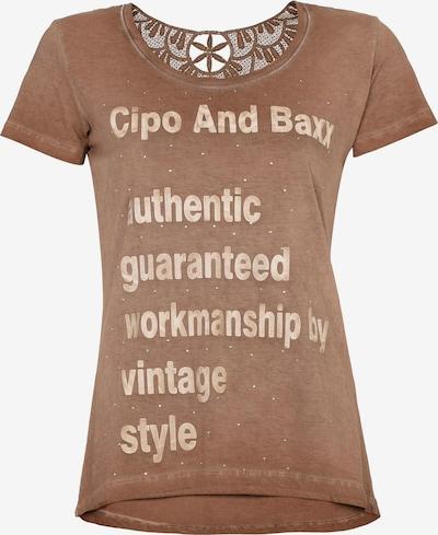 CIPO & BAXX T-Shirt mit modischen Spitzendetails in braun, Produktansicht