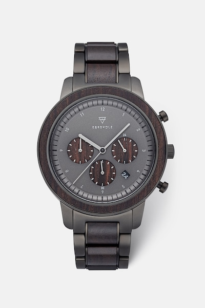 Kerbholz Uhr 'Maximilian' in dunkelbraun / schwarz, Produktansicht