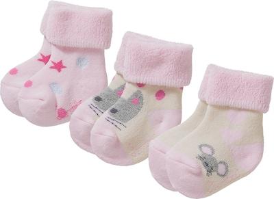 STERNTALER Socken 'Katze' in grau / pink / rosa: Frontalansicht