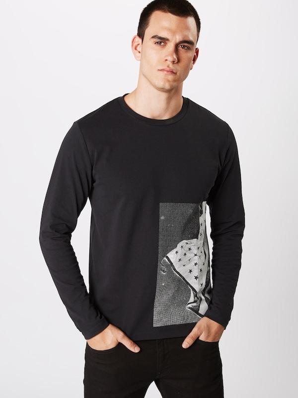 Reg GrisNoir Ls Blanc Jeans Tee' Side T 'graphic En shirt Calvin Klein Flag nwm8NOv0