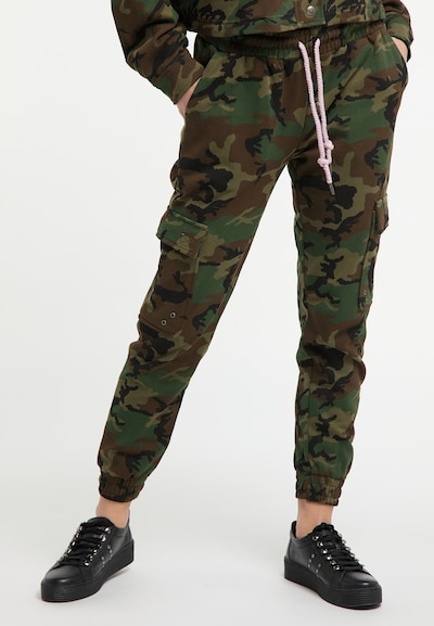 MYMO Hose in braun / khaki / schwarz, Modelansicht