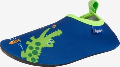 PLAYSHOES Badeschuh 'Krokodil' in blau / limette, Produktansicht