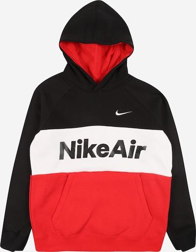 Nike Sportswear Sweatshirt 'AIR PO' in de kleur Rood / Zwart / Wit, Productweergave