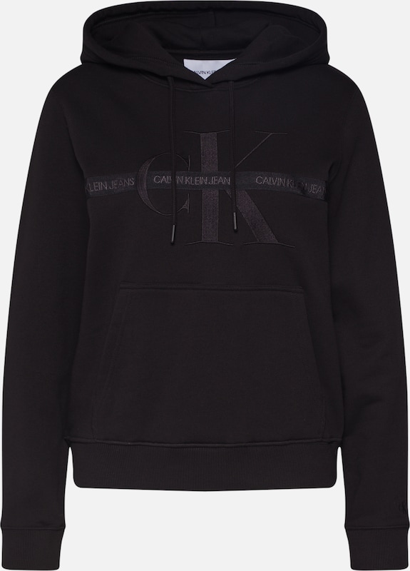 Calvin Klein Jeans Sweatshirt 'TAPING THROUGH MONOGRAM HOODIE' in schwarz: Frontalansicht