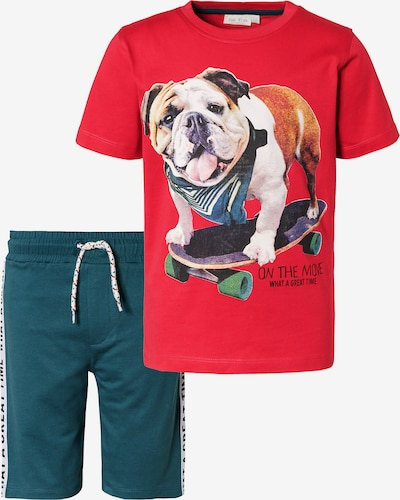 myToys-COLLECTION Set T-Shirt + Sweatshorts in smaragd / rot, Produktansicht