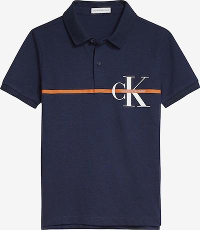 Calvin Klein Jeans Polo Shirt in dunkelblau / orange / weiß: Frontalansicht