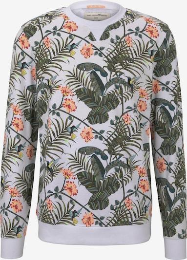 TOM TAILOR DENIM Sweatshirt in grün / koralle / weiß, Produktansicht