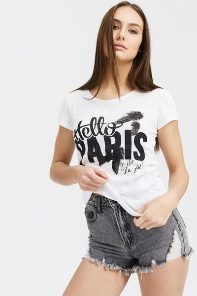 trueprodigy T-Shirt 'Hello Paris' in schwarz / weiß: Frontalansicht