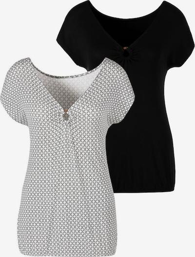LASCANA Camiseta en negro / blanco, Vista del producto