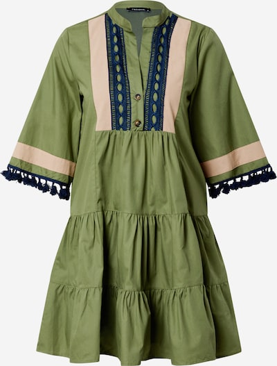 Trendyol Sukienka koszulowa w kolorze cielisty / ciemny niebieski / oliwkowym: Widok z przodu