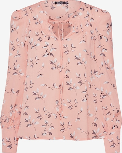 Boohoo Bluse 'Floral Tie Neck Top' in rosa / weiß, Produktansicht